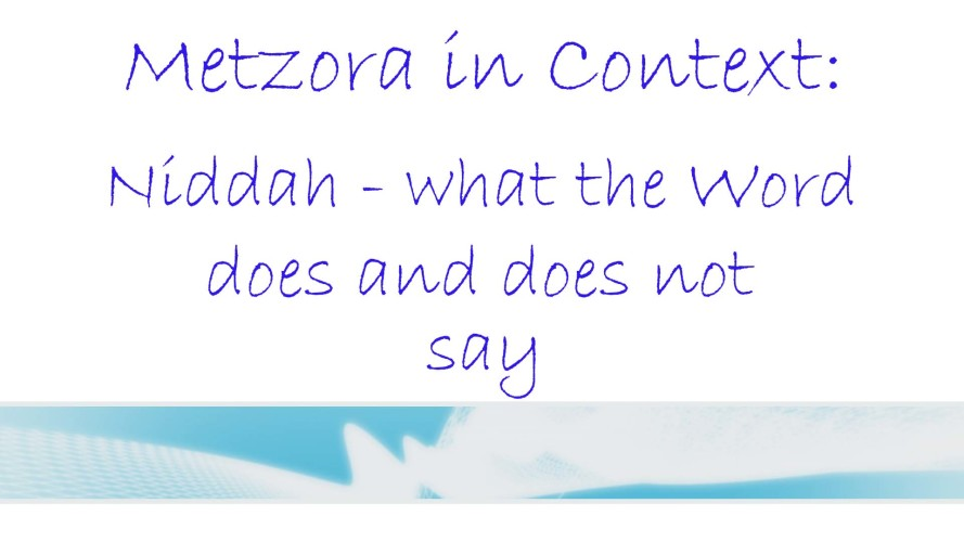 Metzora in Context: Niddah - what the Word does and does not say