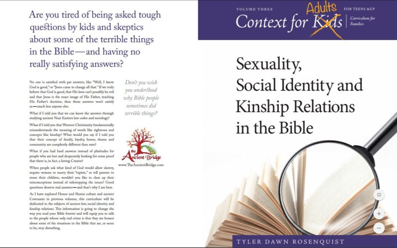 Sneak Peak at Context for Adults: Sexuality, Social Identity and Kinship Relations in the Bible