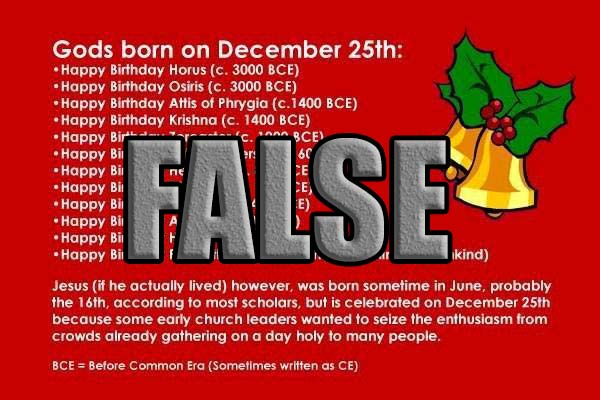 Q: How Many Pagan Gods Were Born of Virgins (or even born) on December 25th? A: Zero